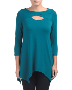 Three Quarter Sleeve Peek A Boo Top