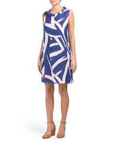 Made In Italy Linen Cowl Neck Abstract Print Dress