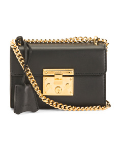 Made In Italy Small Padlock Chain Leather Bag