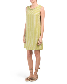 Made In Italy Cowl Neck Striped Linen Dress