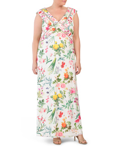 Plus Floral Long Occasion Dress