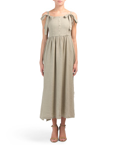 Made In Italy Linen Button Front Midi Dress