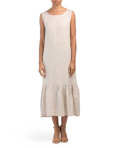 Made In Italy Linen Dress With Flounce Hem
