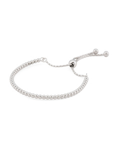 Made In Italy Sterling Silver Beaded Adjustable Bracelet