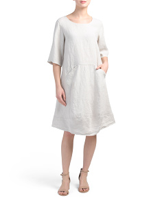 Made In Italy 2 Pocket Easy Linen Midi Dress