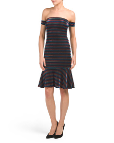 Juniors Rainbow Stripe Metallic Dress