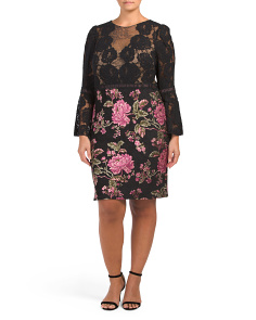Plus Bell Sleeve Floral Dress