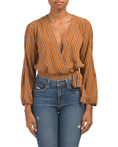 Juniors Vertical Stripe Long Sleeve Top