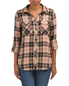 Juniors Long Sleeve Multi Plaid Tunic