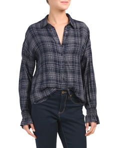 Juniors Long Sleeve Plaid Tunic