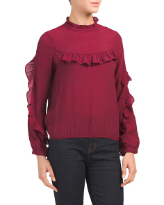 Juniors Long Sleeve Bubble Hem Top