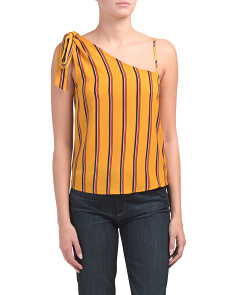 Juniors One Shoulder Vertical Stripe Top