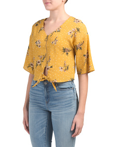 Juniors Knot Front Zipper Dot Floral Woven Top