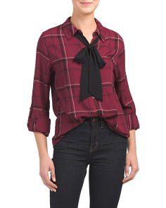 Juniors Plaid Top With Contrast Bow