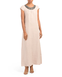 Made In Italy Linen Embellished Neck Maxi Dress