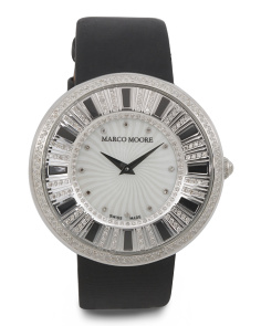 Women's Swiss Made Diamond Black Leather Strap 42mm Watch