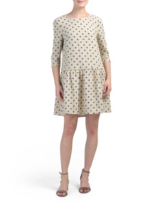 Made In Italy Linen Polka Dot Dress