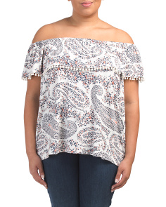 Plus Ruffled Botanical Vines Top