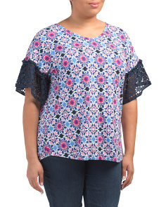 Plus Ruffled Short Sleeve Print Top