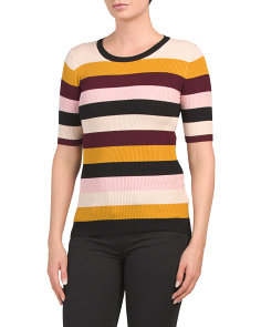 Elbow Sleeve Multicolor Stripe Sweater