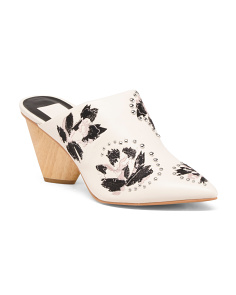 Leather Embroidered Pointy Toe Mules