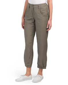 Linen Pants With Banded Cuffs