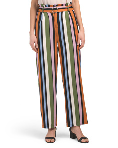 Juniors Multi Color Stripe Wide Leg Pants