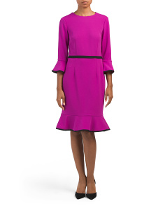 Bell Sleeve Flounce Dress With Tipping