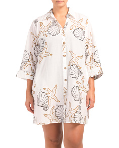 Plus Starfish Shell Printed Cover Up