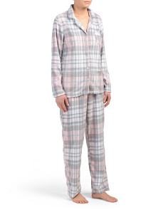 Packaged Plaid Notch Pj Set With Eye Mask