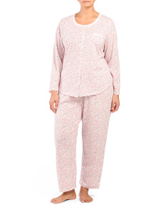 Plus Long Sleeve Button Front Pajama Set