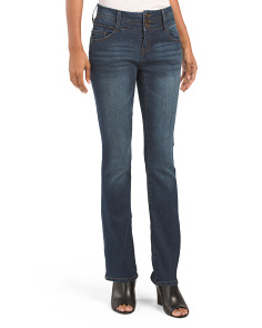 Triple Button Skinny Boot Cut Jeans