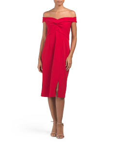 Off The Shoulder Midi Cocktail Dress