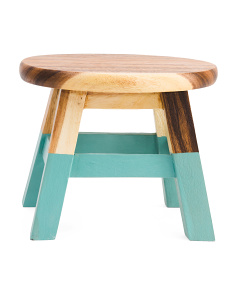 10in Round Dipped Leg Acacia Wood Step Stool