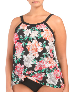Plus Bloom Country Crossover Hem Tankini Top