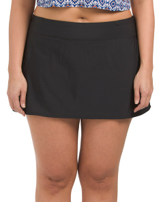 Plus Solid Swim Skort With Pocket