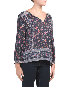 Border Print Peasant Sleeve Top