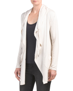 Brushed Fleece Hooded Cardigan