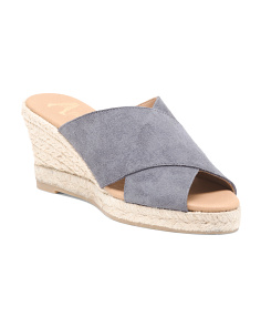 Made In Spain Crossband Wedge Espadrilles