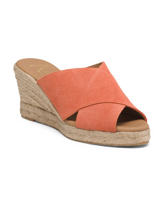 Made In Spain Crossband Suede Espadrilles