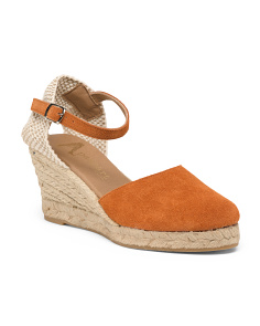 Made In Spain Suede Crossband Wedge Espadrilles