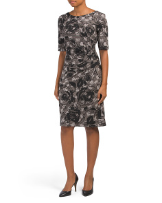 Mixed Print Side Ruched Jersey Dress