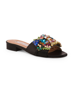 Made In Italy Handmade Jeweled Leather Slide Sandals