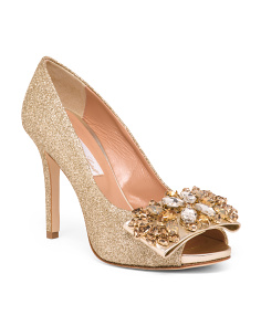 Made In Italy Handmade Jeweled Leather Pumps