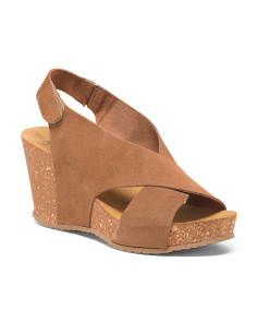 Made In Italy Suede X Band Wedge Sandals