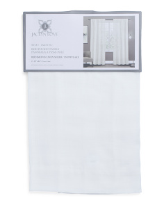 Set Of 2 Linen Look Sheer Curtains