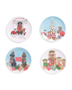 4pk Assorted Christmas Dogs Appetizer Plates