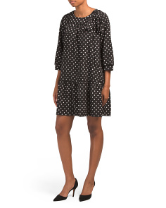 Polka Dot Stretch Crepe Dress