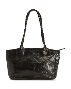 Leather Tote With Braided Handles