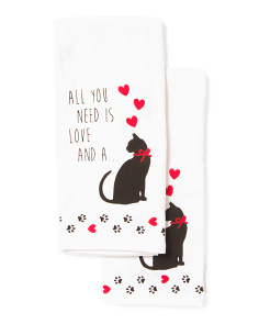 2pk All You Need Cat Kitchen Towels